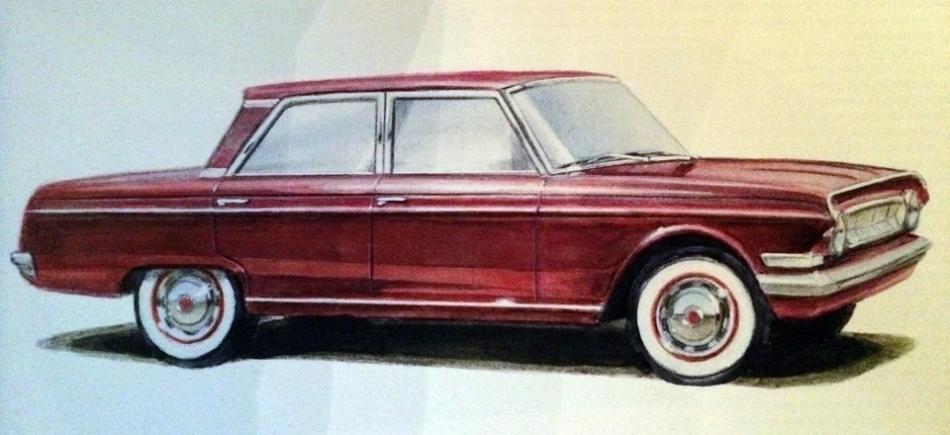 один из первых эскизов ГАЗ-24 1960 год