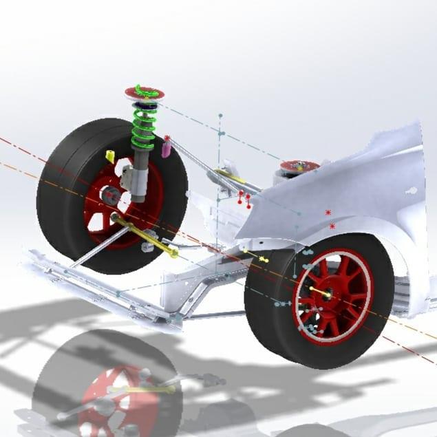 пример расчета геометрии подвески автомобиля для кольцевых гонок